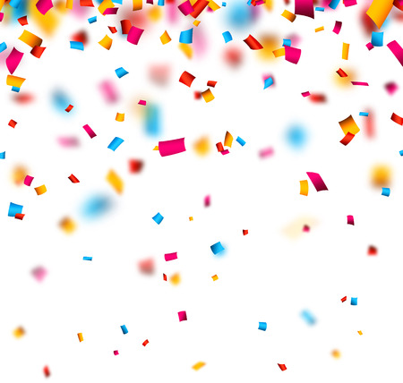 Illustration pour Colorful celebration background with defocused confetti. Vector illustration. - image libre de droit