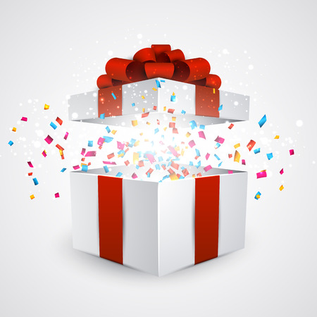 Illustration pour Opened 3d realistic gift box with red bow and confetti. Vector illustration. - image libre de droit