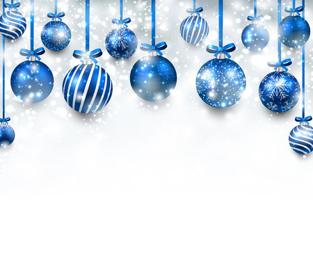 Illustration for Abstract arc background with blue christmas balls. - Royalty Free Image