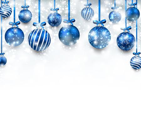 Illustration pour Abstract arc background with blue christmas balls. - image libre de droit