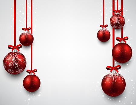 Ilustración de Set of red christmas balls background. Vector illustration. - Imagen libre de derechos
