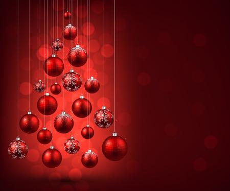 Ilustración de Christmas tree with red christmas balls. Vector illustration. - Imagen libre de derechos