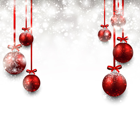 Illustration for Abstract background with red christmas balls. Vector illustration. - Royalty Free Image