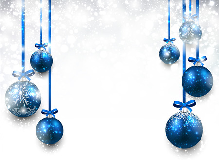 Ilustración de Abstract background with blue christmas balls. Vector illustration. - Imagen libre de derechos