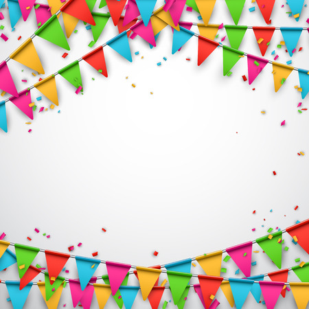 Illustration for Celebrate background. Party flags with confetti. Vector illustration. - Royalty Free Image