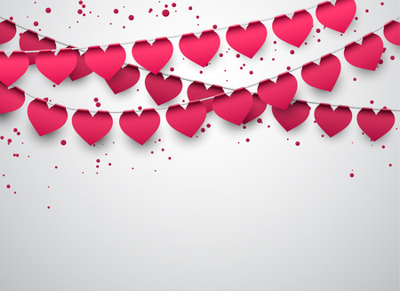 Illustration for Love party heart flags with confetti - Royalty Free Image