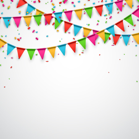 Illustration pour Celebrate background. Party flags with confetti. Vector illustration. - image libre de droit