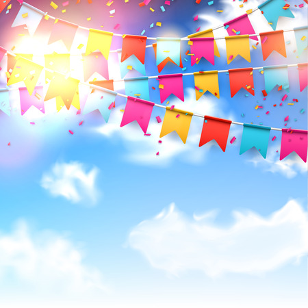 Ilustración de Celebrate banner Party flags with confetti over blue sky. - Imagen libre de derechos