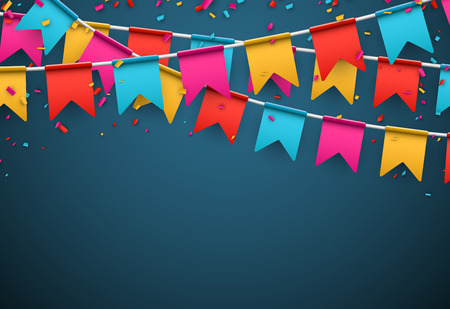 Illustration for Celebrate banner Party flags with confetti. - Royalty Free Image