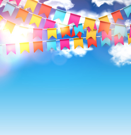Illustration for Celebrate banner. Party flags with confetti over blue sky. Vector illustration. - Royalty Free Image