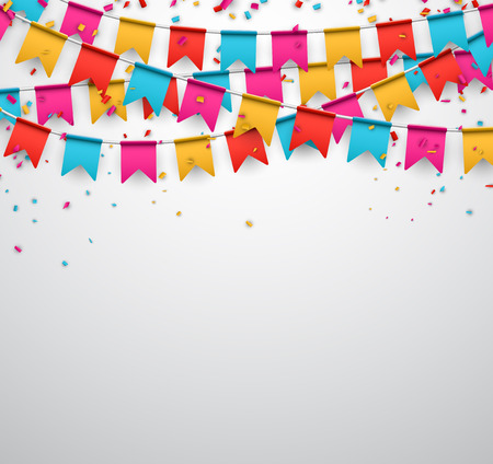 Ilustración de Celebrate banner. Party flags with confetti. Vector illustration. - Imagen libre de derechos