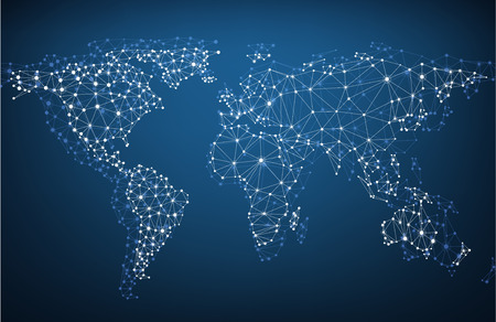 Photo pour Global network mesh. Social communications background. Earth map. Vector illustration. - image libre de droit
