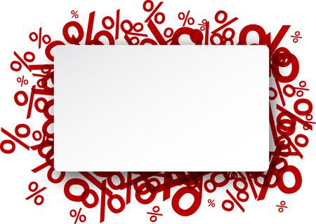 Illustration pour White paper note background over percent signs. Promotion coupon. Vector illustration. - image libre de droit