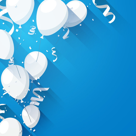 Illustration pour Celebration blue background with flat balloons and confetti. Vector illustration. - image libre de droit