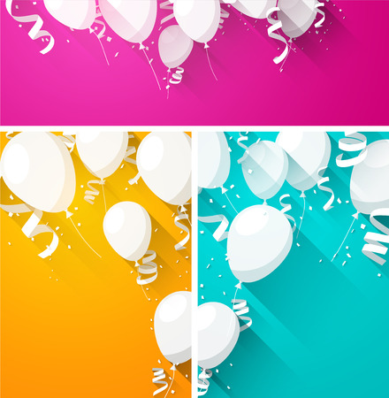 Illustration pour Celebration backgrounds with flat balloons and confetti. Vector illustration. - image libre de droit