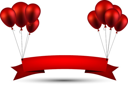 Illustration pour Celebration ribbon background with red balloons. Vector illustration. - image libre de droit