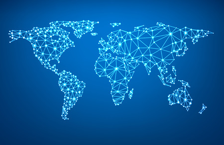 Illustration for Global network mesh. Social communications background. Earth map. Vector illustration. - Royalty Free Image