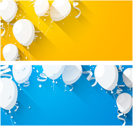 Ilustración de Celebration backgrounds with flat balloons and confetti. Vector illustration. - Imagen libre de derechos