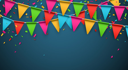 Illustration for Celebrate banner. Party flags with confetti. Vector illustration. - Royalty Free Image