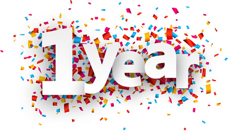 Ilustración de One year paper sign over confetti. Vector holiday illustration. - Imagen libre de derechos