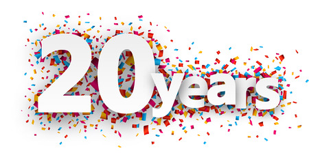 Illustration for Twenty  years paper sign over confetti. Vector holiday illustration. - Royalty Free Image