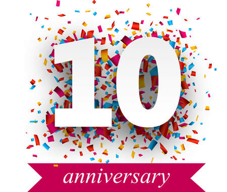 Illustration for Ten paper sign over confetti. holiday anniversary illustration. - Royalty Free Image