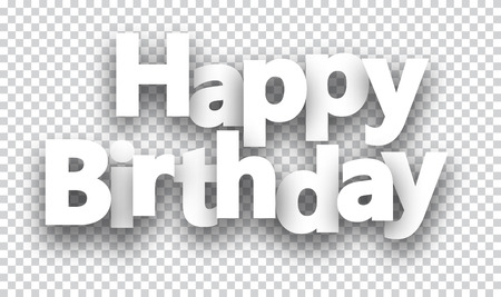 Illustration for Happy birthday paper sign over cells. - Royalty Free Image