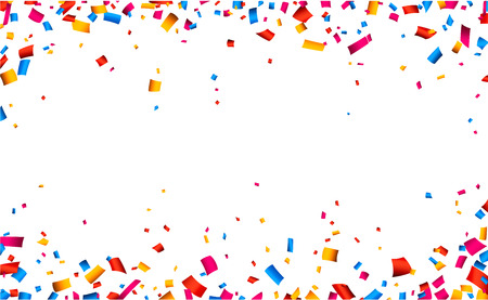 Illustration for Colorful celebration frame background with confetti. Vector background. - Royalty Free Image