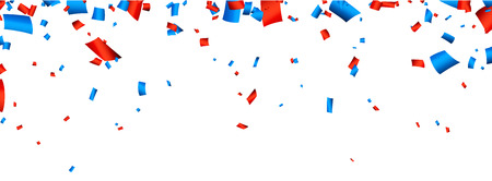 Illustration pour Colorful celebration banner with red and blue confetti. Vector background. - image libre de droit