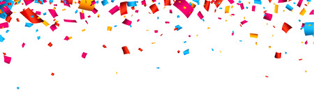 Ilustración de Colorful celebration banner with confetti. Vector background. - Imagen libre de derechos