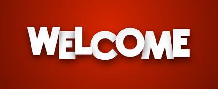 Ilustración de White welcome sign over red background. Vector illustration. - Imagen libre de derechos