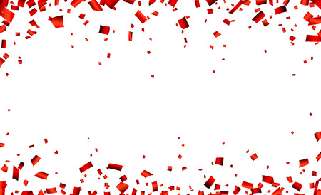 Illustration pour Celebration banner with red confetti. Vector background. - image libre de droit
