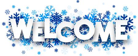 Ilustración de Welcome sign with snowflakes. Vector illustration. - Imagen libre de derechos