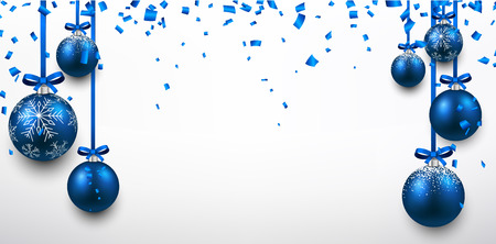 Illustration for Abstract elegant banner with blue christmas balls and confetti. Vector illustration with place for text. - Royalty Free Image