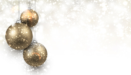 Illustration for Christmas background with gold balls. Vector Illustration. - Royalty Free Image