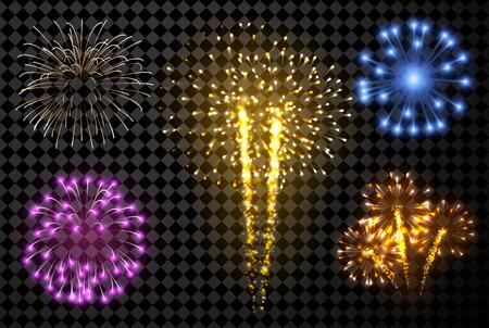 Ilustración de Festive fireworks set isolated on black background. Vector illustration. - Imagen libre de derechos