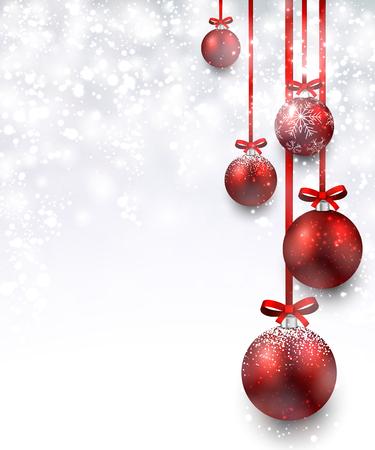 Ilustración de Christmas background with red balls. Vector Illustration. - Imagen libre de derechos