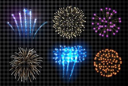 Illustration pour Festive fireworks set isolated on black background. Vector illustration. - image libre de droit