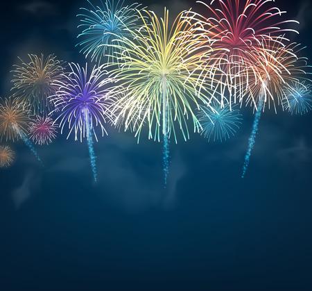 Festive colour firework background. Vector illustration.