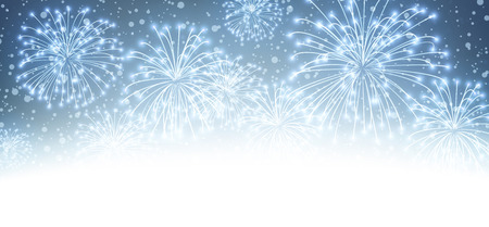 Ilustración de Festive xmas firework background. Vector illustration. - Imagen libre de derechos