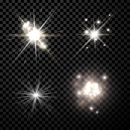 Illustration pour Stars black-white set isolated on black background - image libre de droit