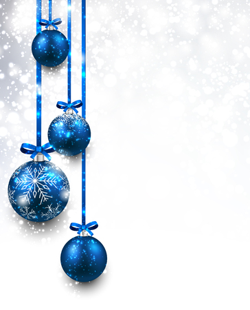 Ilustración de Christmas background with blue balls - Imagen libre de derechos