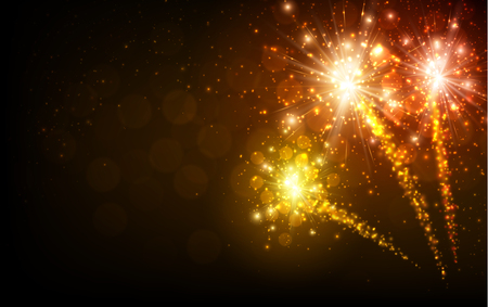 Illustration for Festive yellow firework background - Royalty Free Image