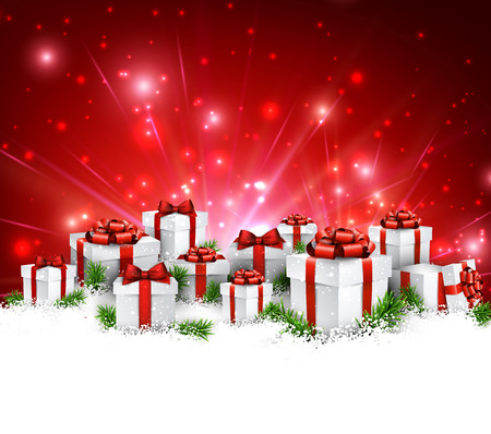Illustration for Christmas red background with gifts. Vector Illustration. - Royalty Free Image