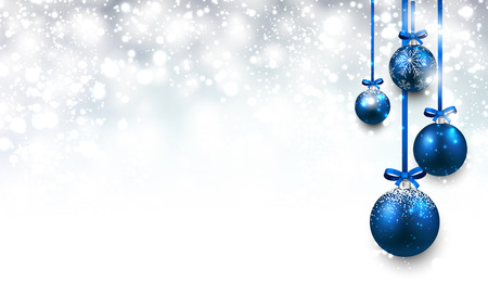 Christmas background with blue balls.