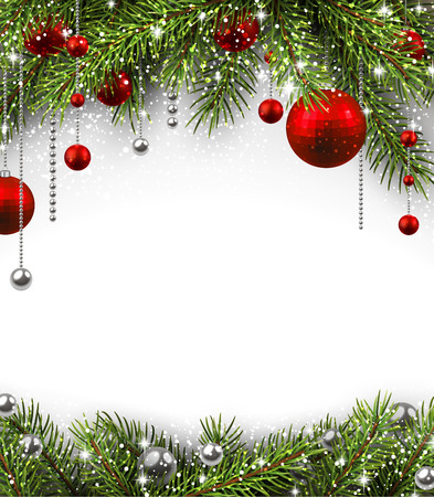Ilustración de Christmas background with fir branches and balls. - Imagen libre de derechos