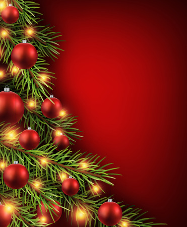 Illustration pour Christmas red background with christmas tree. - image libre de droit