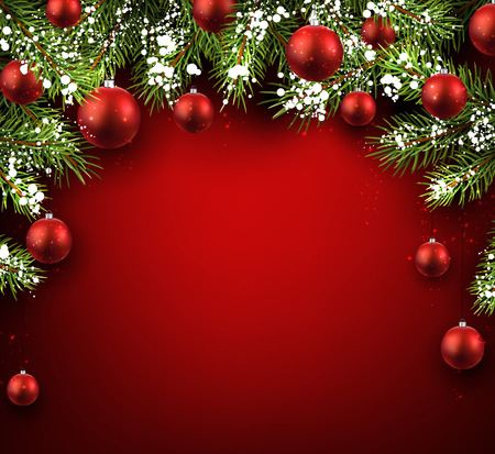 Illustration for Christmas red background with fir branches and balls. - Royalty Free Image
