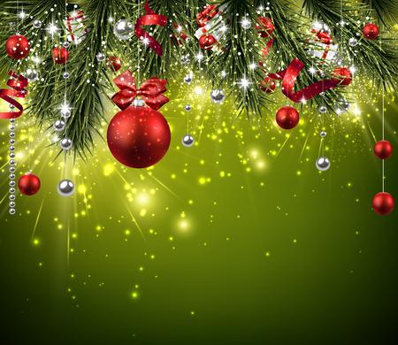 Illustration pour Christmas background with fir branches and balls. - image libre de droit