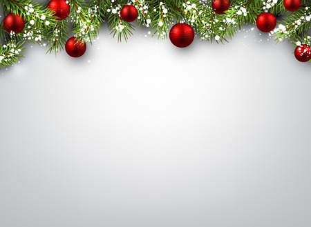Illustration for Christmas background with fir branches and red balls. - Royalty Free Image